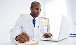 Doctor examining data