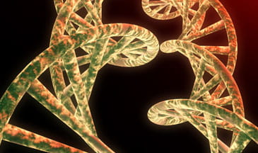 green DNA on black background