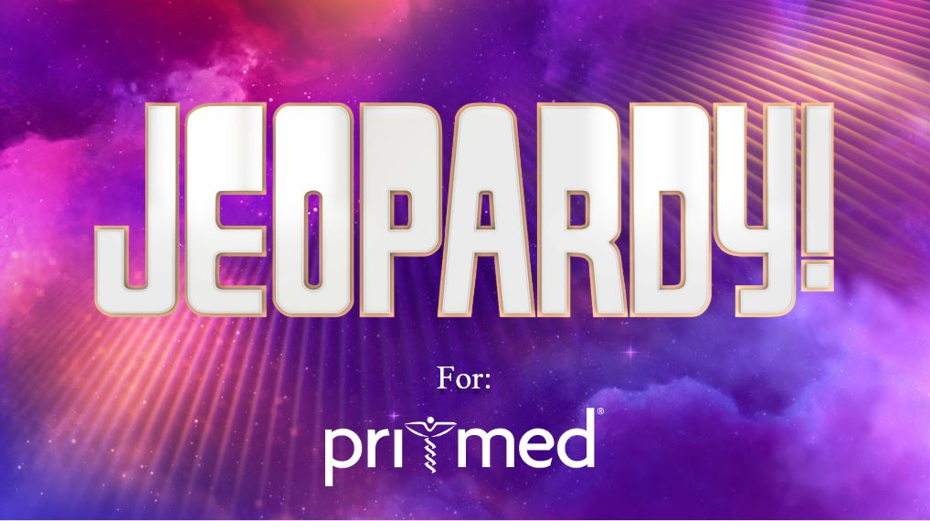 Jeopardy log with pri-med logo underneath