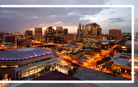 Phoenix Downtown Skyline, Dusk, home of Pri-Med's CME conference in Phoenix, AZ