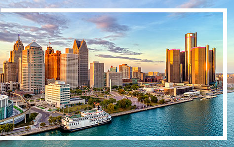 Detroit skyline, home of Pri-Med's CME Conference near Dearborn.