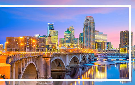 Minneapolis skyline, home of Pri-Med's CME conference in Minneapolis.