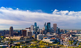 Far view of skyline in Minneapolis, home of Pri-Med Minneapolis.