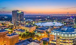 Orlando skyline, home of Pri-Med's CME conference in Orlando, Florida.