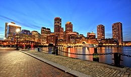 Boston skyline, home of Pri-Med's CME conference in Boston, MA