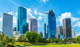 Houston skyline, home of Pri-Med's CME conference in Houston, TX.