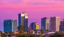 Phoenix skyline at sunset, home of Pri-Med's CME conference in Phoenix, AZ
